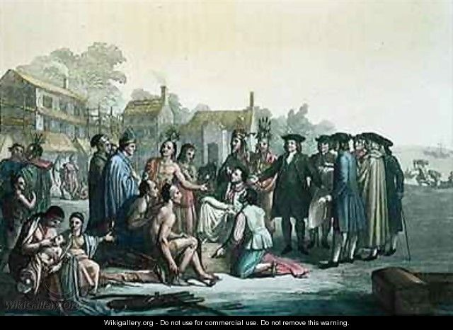 William Penn negotiating the treaty leading to the foundation of Pennsylvania - Gallo Gallina