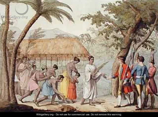 Captain Samuel Wallis 1728-1830 being received by Queen Oberea on the Island of Tahiti - Gallo Gallina