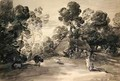 Wooded landscape with figures cottage and cow - (after) Gainsborough, Thomas