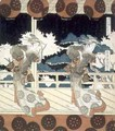 Two Dancers Perform on Stage from The Dance at Furuichi for the Hisakataya Group series - Yashima Gakutei