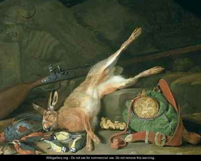 Still Life of a Hare with Hunting Equipment - Hieronymus Galle I