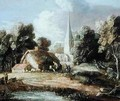 Landscape with a Church Cottage Villagers and Animals - Thomas Gainsborough