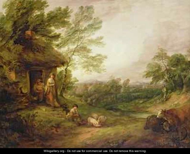 Cottage Door with Girl and Pigs - Thomas Gainsborough