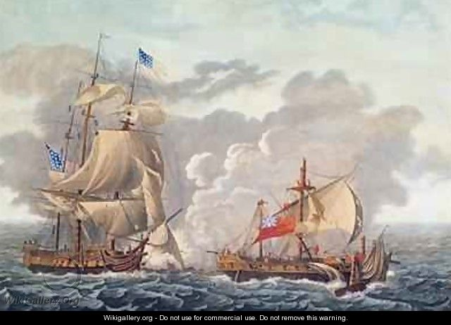 The Taking of the English Vessel The Java by the American Frigate The Constitution - (after) Garneray, Louis Ambroise