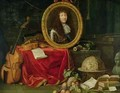 Still life with portrait of King Louis XIV 1638-1715 surrounded by musical instruments flowers and fruit - Jean Garnier