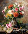Vase of Flowers and a Fan - Pierre Garnier