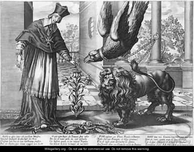 Allegory in praise of Cardinal Richelieu 1585-1642 fighting against Austria the eagle Spain the lion and the enemies within France the caterpillars - Jean Ganiere or Gagniere