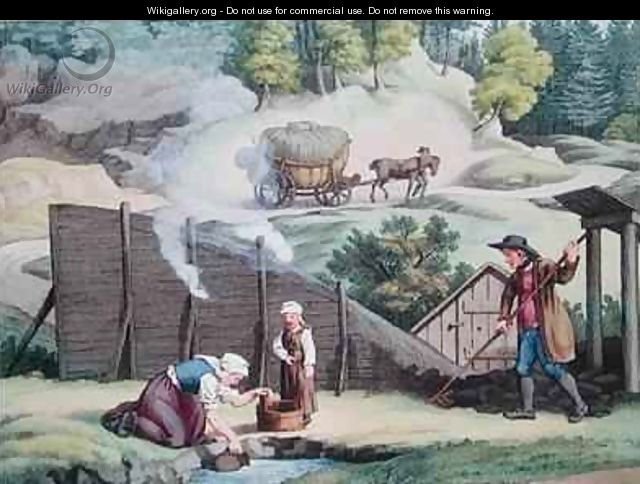 Making charcoal in Austria - (after) Gauermann, Jakob
