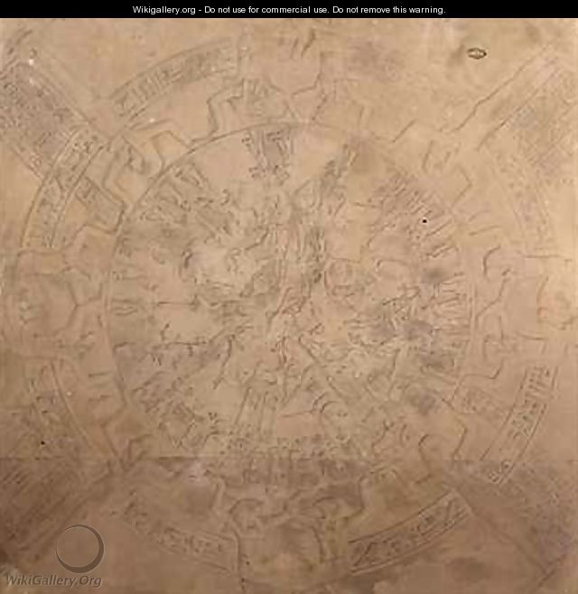 Astrological planisphere of the zodiac of Denderah from the ceiling of the chapel at the Temple of Hathor Denderah Egypt - Francois Chretien Gau