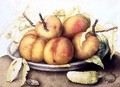Plate of Peaches with a Pickle - Giovanna Garzoni