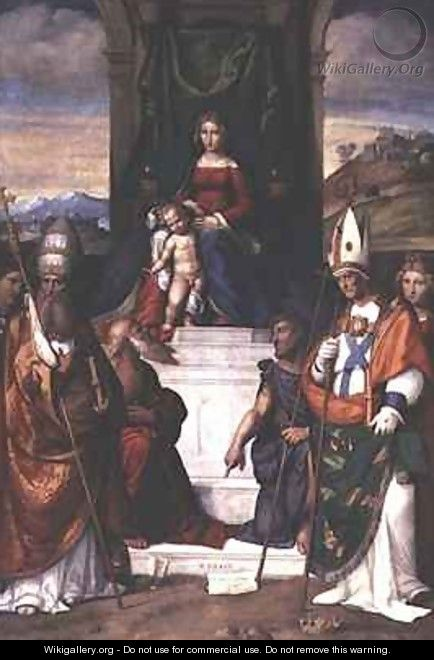 The Virgin Enthroned with Saints Jerome Sylvester and Maurius - Garofalo