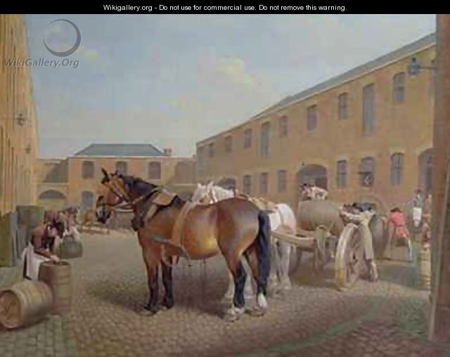 Loading the Drays at Whitbread Brewery Chiswell Street London 2 - George Garrard