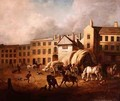 18th Century Town Scene with Figures and Horses in a Yard - George Garrard