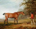 A Bay Horse Approached by a Stable lad with Food and a Halter - George Garrard