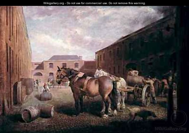 Loading the Drays at Whitbread Brewery Chiswell Street London - George Garrard