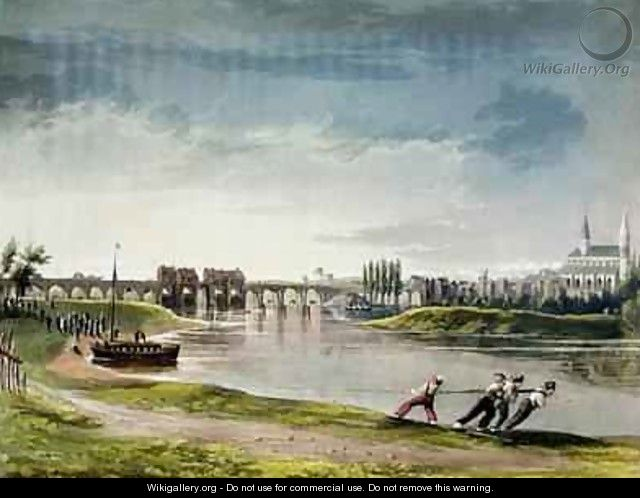 Poissy from Views on the Seine - (after) Gendall, John