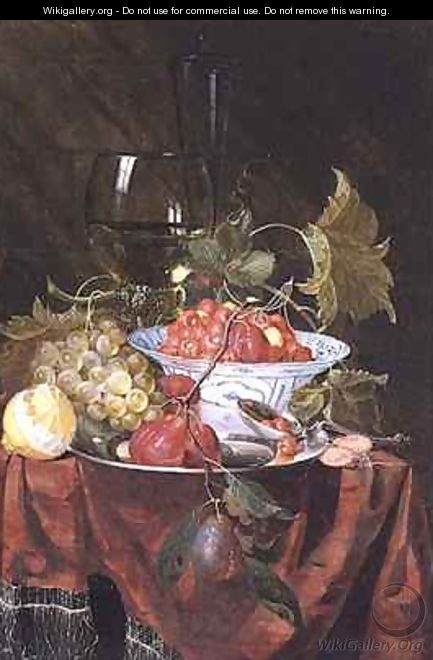Still life with wild strawberries plums grapes and a lemon on a draped ledge - Nicolaes Van Gelder