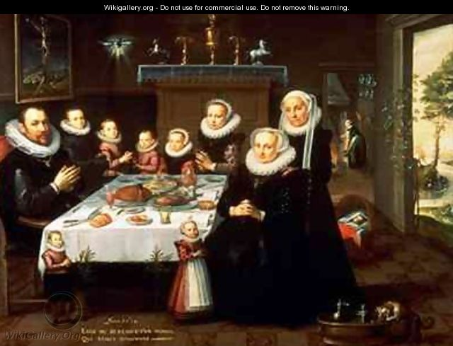 A Portrait of a Family saying Grace Before a Meal - Gortzius Geldorp