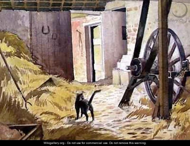 A Barn with cat and agricultural machinery - William Gaydon