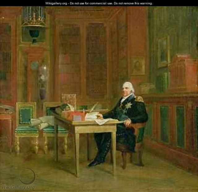 Louis XVIII 1755-1824 in his Study at the Tuileries - Baron Francois Gerard