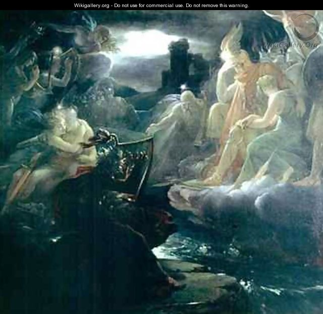 Ossian Conjuring up the Spirits on the Banks of the River Lora with the Sound of his Harp - Baron Francois Gerard