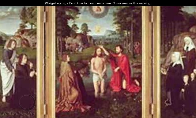 Jean de Trompes Triptych with the Baptism of Christ in the Central Panel and Patrons - Gerard David