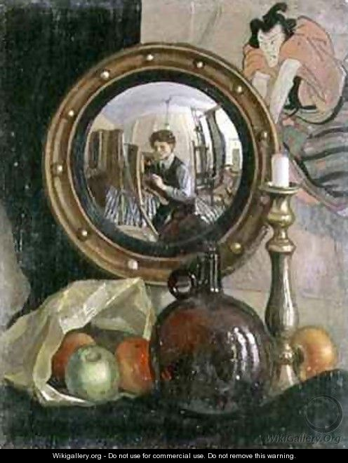 Still Life with Self Portrait - Mark Gertler - WikiGallery org, the