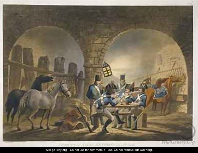 A Piquet of Saxon Dragoons in an Old Castle - (after) Gessner, Conrad