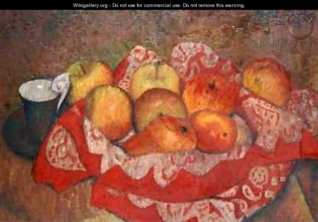 Apples and Pears on a Red Cloth - Mark Gertler