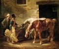 Two Post Horses at the Door of a Stable - Theodore Gericault