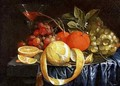 Still Life of Grapes Oranges and a Peeled Lemon - Jan Pauwel Gillemans The Elder