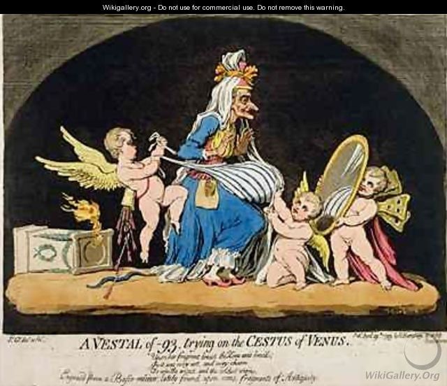 A Vestal of 93 trying on the Cestus of Venus - James Gillray