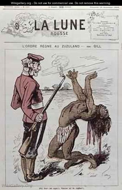 Order Reigns in Zuzuland caricature of the English colonisation of South Africa from La Lune Rousse - Andre Gill