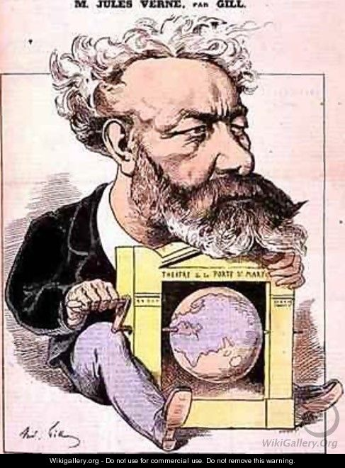 Caricature of Jules Verne 1828-1905 from LEclipse - Andre Gill