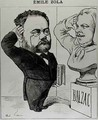 Caricature of Emile Zola 1840-1902 Saluting a Bust of Honore de Balzac 1799-1850 - Andre Gill