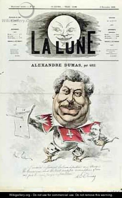 Caricature of Alexandre Dumas pere 1803-70 as a Musketeer from the front cover of La Lune magazine - Andre Gill