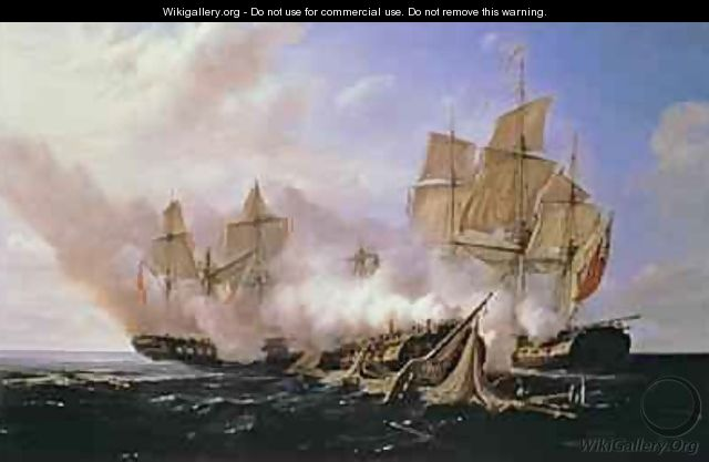 Battle Between the Frigate Pomone and the English Frigates Alcestis and Active - Pierre Julien Gilbert
