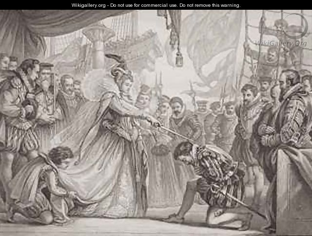 Queen Elizabeth I 1530-1603 knighting Francis Drake 1540-96 from Illustrations of English and Scottish History Volume I - Sir John Gilbert