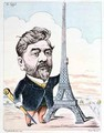 Gustave Eiffel 1832-1923 with his best known construction the Eiffel Tower - Charles Gilbert-Martin
