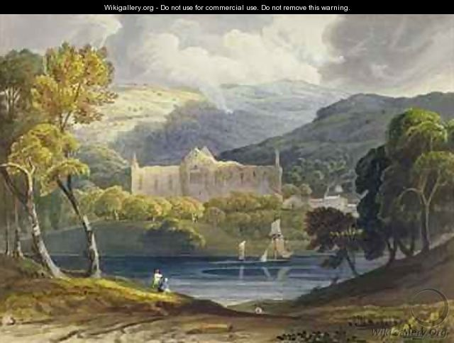 North View of Tintern Abbey from Picturesque Illustrations of the River Wye - Anthony Vandyke Copley Fielding