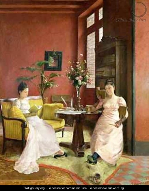 Two Women Reading in an Interior - Jean Georges Ferry
