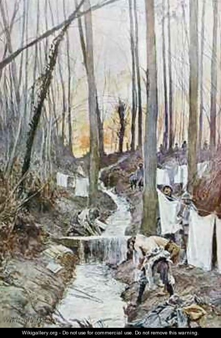 French soldiers wash themselves and do their laundry in a stream in the woods of Roucy - Francois Flameng