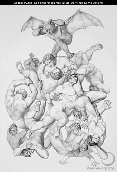 Beelzebub expels the Fallen Angels - (after) Flatters, Richard Edmond