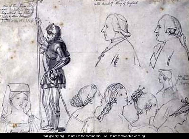 Character Sketches in Rome with Portraits of Prince Charles Edward Stuart and his brother Cardinal York - John Flaxman
