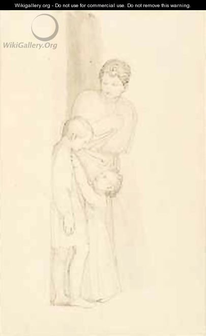 A Woman standing behind a Small Child - John Flaxman