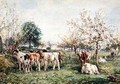 Calves in a Cherry Orchard - Mark Fisher