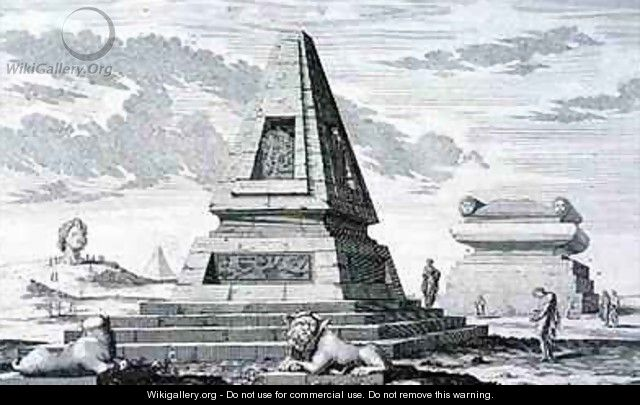 Pyramids marking the Tomb of King Sotis of Egypt found in the ruins of Heliopolis - (after) Fischer von Erlach, Johann Bernhard