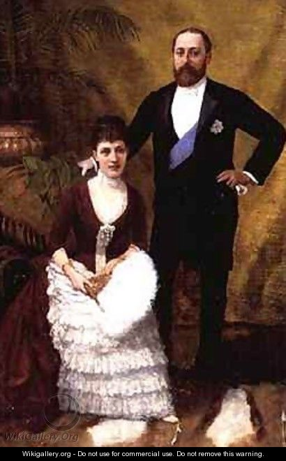 King Edward VII 1841-1910 and his wife Queen Alexandra 1844-1925 - R. Forester
