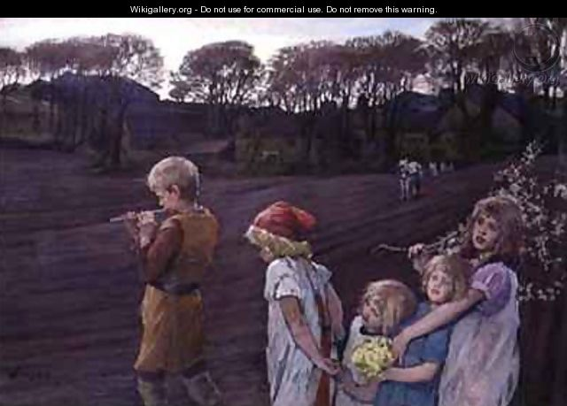The Pied Piper an Allegory of Spring - Elizabeth Stanhope Forbes