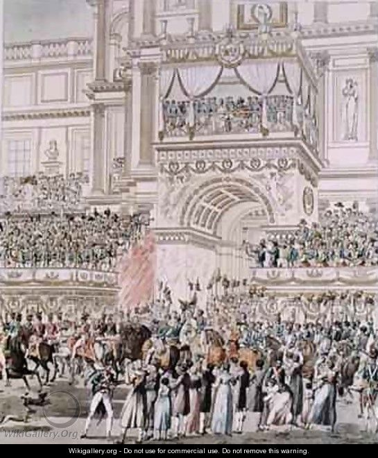 The Emperor and the Empress Receiving the Homage of the French Troops from the Balcony of the Tuileries on the Occasion of their Marriage - (after) Fontaine, Pierre Francois Leonard